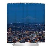 Full Moon Rising Over Portland Cityscape Shower Curtain