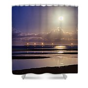 Full Moon Rising Over Sandgate Pier Shower Curtain