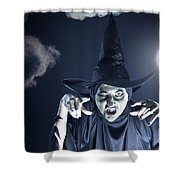Full Moon Witch Shower Curtain