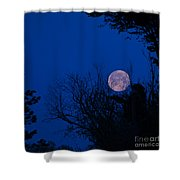 Full Moon With Trees Shower Curtain