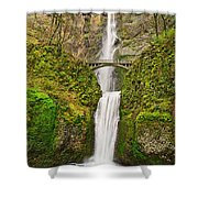 Full View Of Multnomah Falls In The Columbia River Gorge Of Oregon Shower Curtain