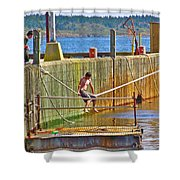 Fun At The Ferry Dock On Brier Island In Digby Neck-ns Shower Curtain