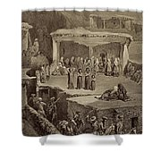 Funeral Ceremony In The Ruins Shower Curtain
