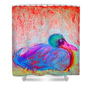 Funky Duck In Snowfall Shower Curtain