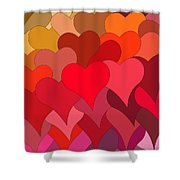 Funky Hearts Shower Curtain