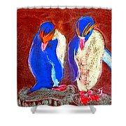 Funky Rockhopper Penguins Shower Curtain