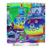 Funky Snowman Holiday  Shower Curtain