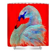 Funky Swan Blue On Red Shower Curtain