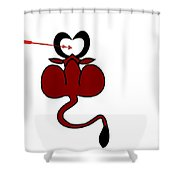 Funny Illustration Of Backside Of Bull With Heart Shaped Horns Shower Curtain