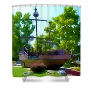 Funplex Funpark Boat 3 Shower Curtain by Lanjee Chee
