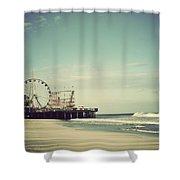 Funtown Pier Seaside Heights New Jersey Vintage Shower Curtain