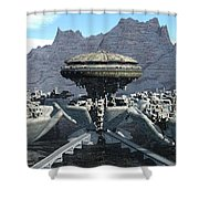 Future Pod City Shower Curtain