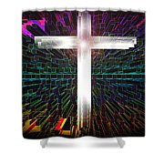 Futuristic Cross Pattern Shower Curtain