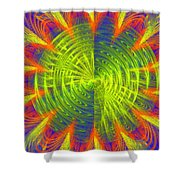 Futuristic Disc Blue Red And Yellow Fractal Flame Shower Curtain