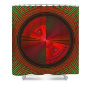 Futuristic Green And Red Tech Disc Fractal Flame Shower Curtain