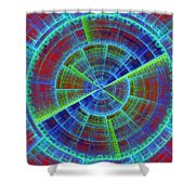 Futuristic Tech Disc Red And Blue Fractal Flame Shower Curtain