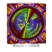 Futuristic Tech Disc Red Green And Yellow Fractal Flame Shower Curtain