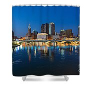 Fx2l472 Columbus Ohio Night Skyline Photo Shower Curtain