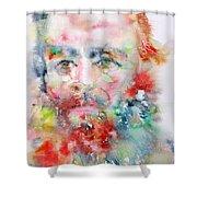Fyodor Dostoyevsky - Watercolor Portrait.4 Shower Curtain