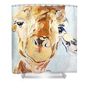 G A Giraffe Shower Curtain