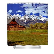 Gable Roof Barn Panorama Shower Curtain