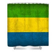 Gabon Flag Vintage Distressed Finish Shower Curtain