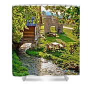 Gacka River Spring Watermill And Historic Ruins Shower Curtain