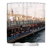 Galata Skyline And Bridge 02 Shower Curtain