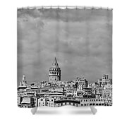 Galata Tower Mono Shower Curtain