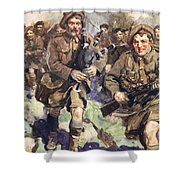 Gallant Piper Leading The Charge Shower Curtain by Cyrus Cuneo