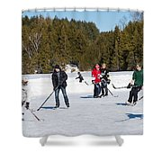 Game Of Ice Hockey On A Frozen Pond  Shower Curtain