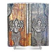 Ganesh Door Plating At The Yoga Maya Hindu Temple In New Delhi India Shower Curtain