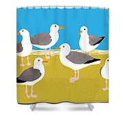 Gang Of Gulls On The Beach Shower Curtain