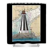 Gannet Rock Lighthouse New Brunswick Canada Nautical Chart Art Shower Curtain
