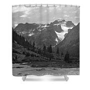 509417-bw-gannett Peak Seen From Dinwoody Creek Shower Curtain