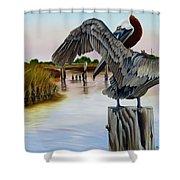 Gar Lake Pelican 2 Shower Curtain