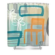 Garden Chair Shower Curtain by Linda Woods