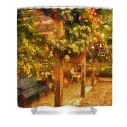 Garden Flowers With Bench Photo Art 01 Shower Curtain
