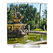Garden Fountain - Iconic Fountain At The Huntington Library And Botanical Ga Shower Curtain