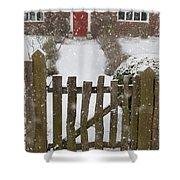 Garden Gate In Snow Shower Curtain