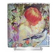 Garden Girl - Antique Collage Shower Curtain