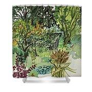 Garden In Llandielo, 1999 Watercolour On Paper Shower Curtain