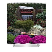 Garden Miniature Train Shower Curtain