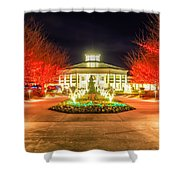 Garden Night Scene At Christmas Time In The Carolinas Shower Curtain