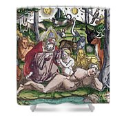 Garden Of Eden Historiae Animalium Shower Curtain