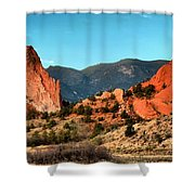 Garden Of The Gods Sunrise Panorama Shower Curtain
