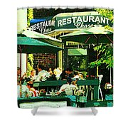 Garden Party Celebrations Under The Cool Green Umbrellas Of Restaurant Chase Cafe Art Scene Shower Curtain
