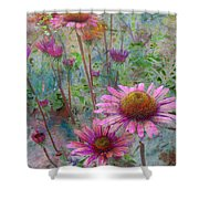 Garden Pink And Abstract Painting Shower Curtain