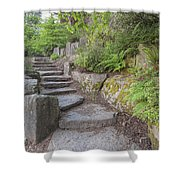 Garden Stair Steps With Natural Rocks Shower Curtain
