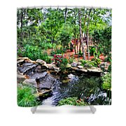 Garden Waterfall And Pond Shower Curtain